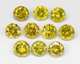 Diamond 0.43 Cts 8Pcs Sparkling Fancy Intense Yellow Natural