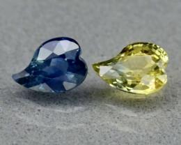 1.14ct t.w VS Yellow & Blue Sapphire - Heated / Pair 2pcs / 5.7 x 4.0 & 5.8