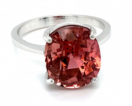 Rubellite 10.05ct Solid 14K White Gold Ring