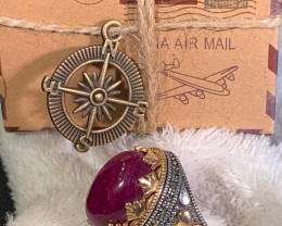 Mens Ruby Cabochon Sterling Silver/Bronze Ring