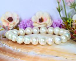 10.0mm 151Ct Australian South Sea Creamy White Pearl Bracelet B1437