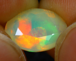 Welo Opal 1.40Ct Natural Ethiopian Faceted Play of Color Opal E1729/A44