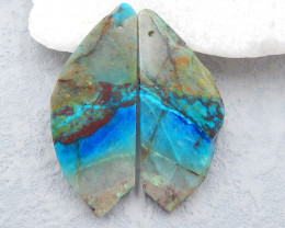 D2380 - 38cts Natural chrysocolla gemstone free shape earrings bead pair,hi
