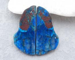 D2381 - 32cts Natural chrysocolla gemstone free shape earrings bead pair,hi