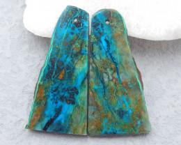 D2382 - 48cts Natural chrysocolla gemstone free shape earrings bead pair,hi