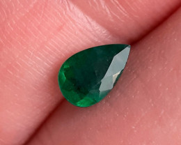 Polished Natural Brazilian emerald – 0.73 ct ( Pear Cut)