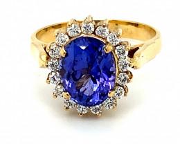 Tanzanite 3.49ct Natural Diamonds Solid 18K Yellow Gold Ring
