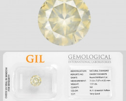 Diamond 1.51 Cts Sparkling GIL Certified Fancy Greenish Yellow Natural