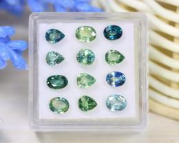 Sapphire 3.93Ct VS2 12Pcs Natural Australian Parti Sapphire A1501
