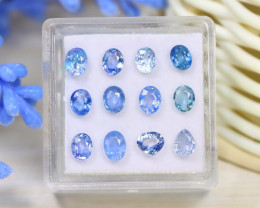 Sapphire 3.68Ct VS2 12Pcs Natural Madagascar Blue Sapphire A1515