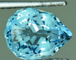 5.89 Cts Fine Quality Natural Swiss Blue Topaz Pear Custom Cut Ref VIDEO
