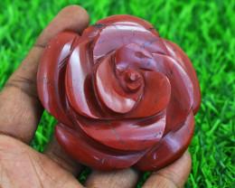 Genuine 584.00 Red Jasper Carved Rose