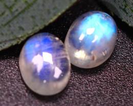 Moonstone 3.34Ct 2Pcs Natural Blue Flash Rainbow Moonstone E1911/A27