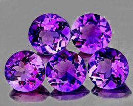6.00 mm Round 5 pcs 3.47cts Purple Amethyst [VVS]