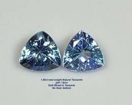 1.88ct t.w Trillion Violet Blue Tanzanite - NO Heat / Pair 2pcs / 6.0 & 6.0
