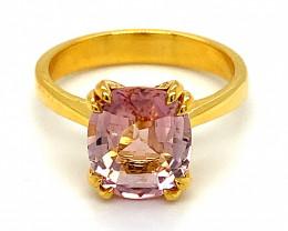 Pink Tourmaline 2.70ct Solid 14K Yellow Gold Ring