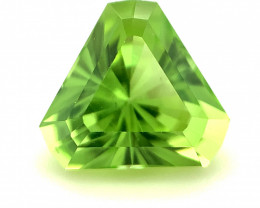 1.72ct Green Peridot, Trilliant, Barion Cut, Rare Natural Gemstone
