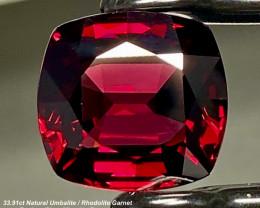 33.91ct Umbalite/Rhodolite Garnet - Hugh & Rare / Cushion /  18.5 x 17.5mm