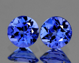 3.80 mm Round 2 pcs 0.40ct Purple Blue Tanzanite [VVS]