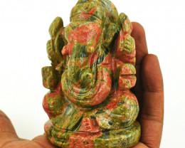 Genuine 1345.00 Cts Blood Green Unakite Ganesha Idol