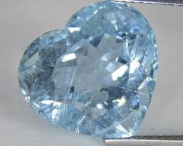 10.29Cts Genuine Natural Blue Color Unheated Aquamarine Heart Shape REF VDO