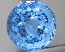 6.28Cts Sparkling Natural Swiss Blue Topaz Round precision Cut Loose Gem
