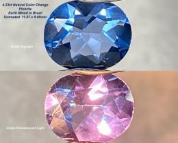 4.23ct Color Change Fluorite - Brazil / 11.07 x 9.09mm
