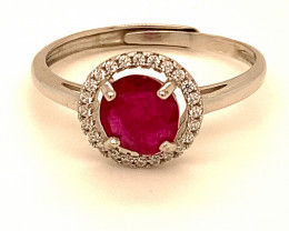 Jegdalek Ruby .85ct White Gold Finish Solid 925 Sterling Silver Ring