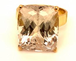 Kunzite 21.80ct Solid 18K Yellow Gold Ring