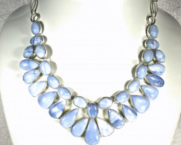 496.0 Tcw.  - Owyhee Blue Opal 925 Sterling Silver Necklace - Gorgeous