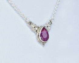 RUBY NECKLACE NATURAL GEM 925 STERLING SILVER AN161