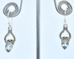 BLUE TOPAZ EARRINGS 925 STERLING SILVER NATURAL GEMSTONE AE1208