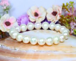 10.0mm 139Ct Australian South Sea Creamy White Pearl Bracelet A1937
