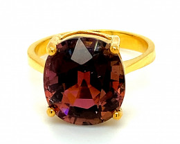 Rubellite 7.66ct Solid 14K Yellow Gold Ring