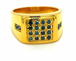 Blue Diamonds 1.00ct Solid 14K Yellow Gold Ring