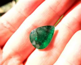 14.10 ct - Polished Natural emerald – ( Pear Cut)