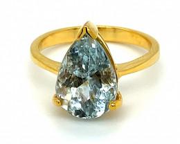 Aquamarine 4.90ct Solid 14K Yellow Gold Ring