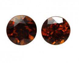 1.60cts Natural Australian Brownish/Red Zircon Matching Round Shape