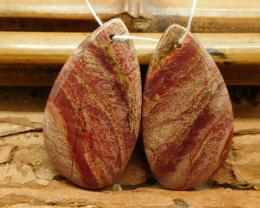 semi precious stone red rainbow jasper earrings (G2896)