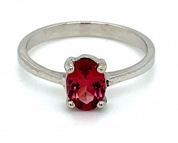 Red Mahenge Spinel .72ct Solid 14K White Gold Ring