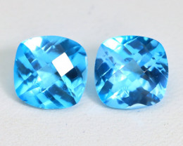 Swiss Topaz 6.86Ct 2Pcs VS Pixalated Cut Natural Swiss Blue Topaz ST554