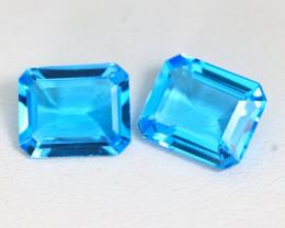 Swiss Topaz 8.54Ct 2Pcs VS Octagon Cut Natural Swiss Blue Topaz ST596