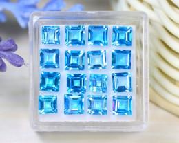 Swiss Topaz 8.39Ct 16Pcs VS Square Cut Natural Swiss Blue Topaz ST617