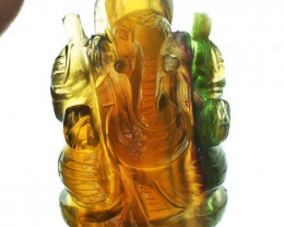 Genuine 915.00 Cts Multicolor Fluorite Ganesha Carving