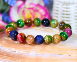 10.0mm 136.00Ct Natural Fancy Tiger Eye Beads Bracelet ST658