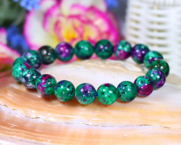 10.0mm 133.00Ct Natural Ruby Zoicite Beads Bracelet ST660