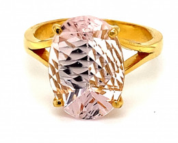 Brazilian Morganite 6.29ct Solid 22K Yellow Gold Ring