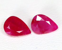 Mogok Ruby 1.36Ct 2Pcs Pear Cut Natural Burmese Mogok Red Ruby ST745