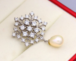 Pearl Natural Solid 925 Sterling Silver White Gold Finish Pendant RM20