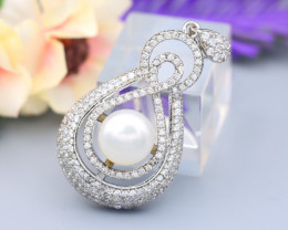 Pearl Natural Solid 925 Sterling Silver White Gold Finish Pendant RM47